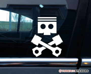 Pistons and con rods , skull and crossbone car scene sticker , Decal